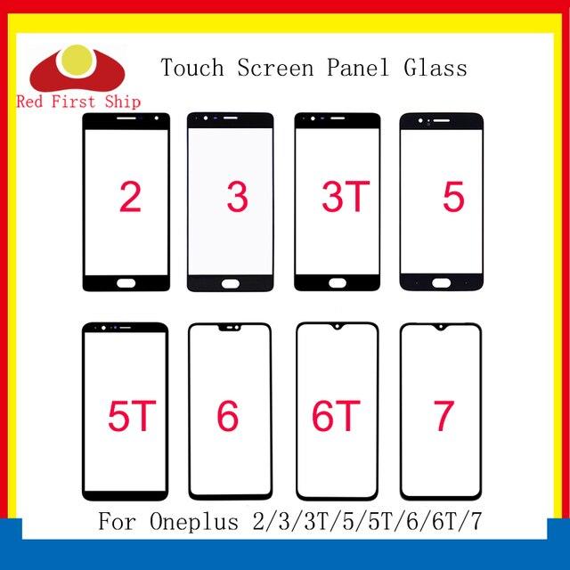10 adet/grup için Oneplus 2/3/3T/5T/5T/6/6T/7 7T dokunmatik ekran paneli için ön dış cam Lens Oneplus 1 + 6 6T LCD cam değiştirme