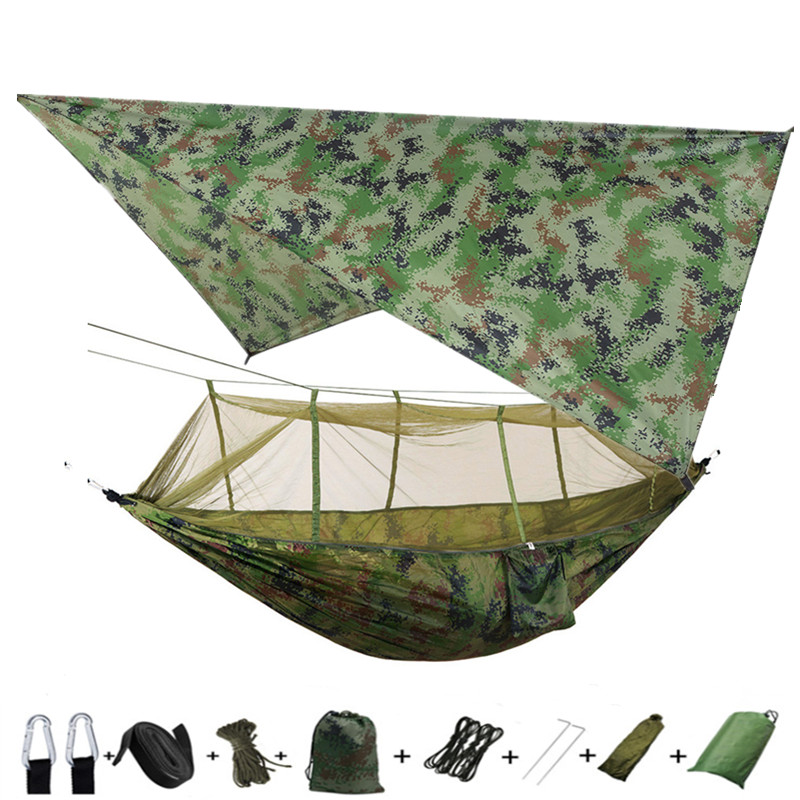 Outdoor Mosquito Net Parachute Portable Camping Hammock With Rain Fly Tarp,Nylon Hammocks Camping Hanging Sleeping Bed Swing