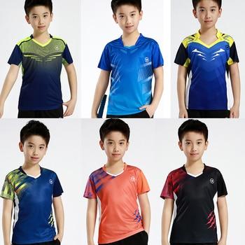 Новая детская спортивная футболка для бадминтона, рубашка для настольного тенниса для мальчиков, рубашки для тенниса для мальчиков, футбол...