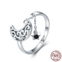 Genuine 925 Sterling Silver Long Chain Star Moon and Adjustable Finger Ring  Women Jewelry Scr479