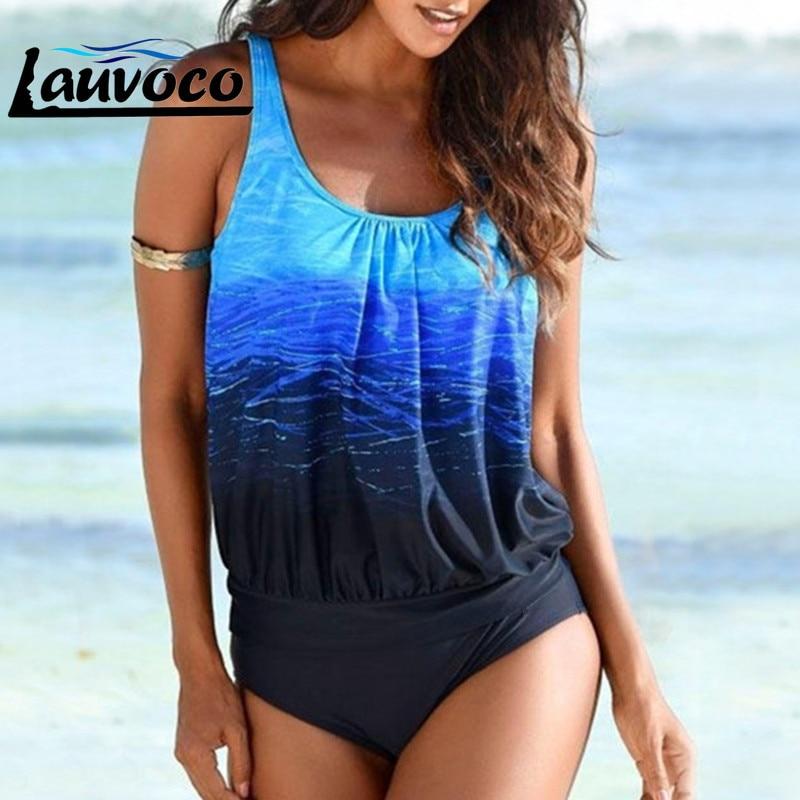 Plus Size Gradient Bikini Set Swimwear Women High Waist Bikini Push Up Swimsuit Retro Sport Larger Size XXL Femme Swimming Suit
