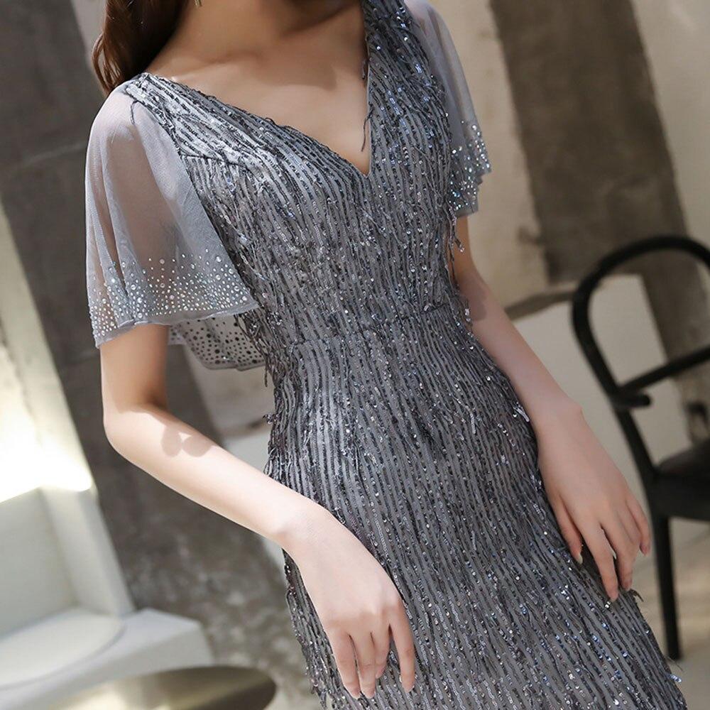 Hs kellio vestido de celebridade, prata sereia