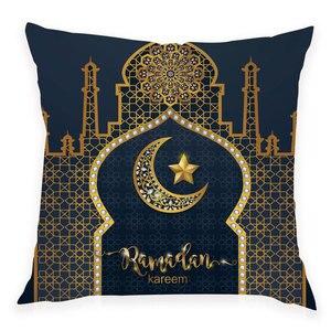 Image 4 - 45x45 سنتيمتر عيد سعيد مبارك المخدة رمضان ديكور الإسلامية مسلم القمر ديكور حفلات الإسلام لوازم رمضان كريم عيد الأضحى