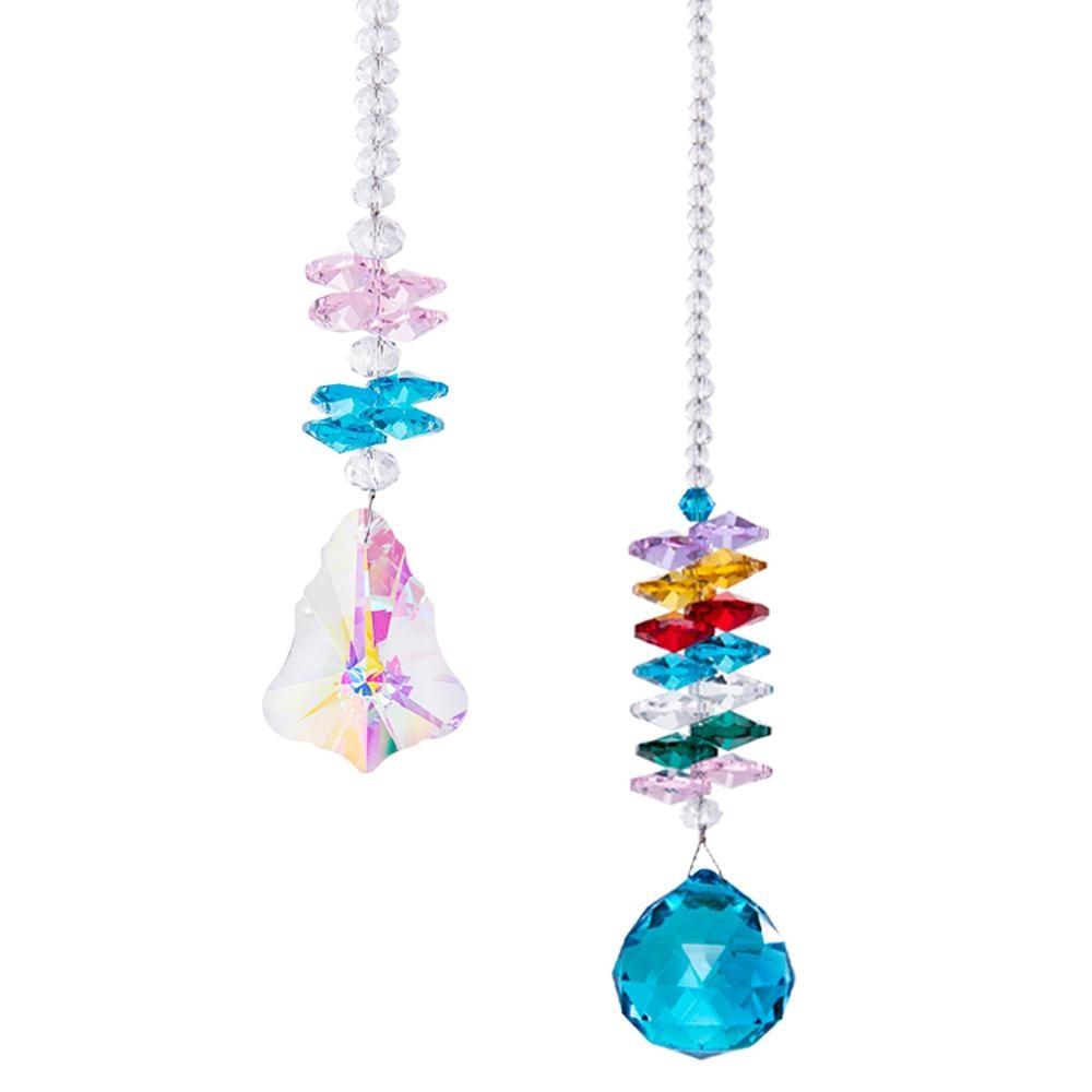 H&D Color Maple Crystal Ball Prism Sun Catcher Rainbow Maker Hanging Suncatcher Home Wedding Decoration Favors  Pack of 2|Garden Suncatchers| |  - title=