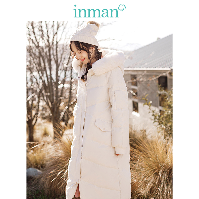 INMAN Winter New Arrival Ins Style Fur Collar Cute Loose Shape Women Long Down Coat