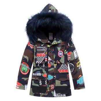 Children Winter Warm Long Section Clothing Big Boy Girl Camouflage Zipper Hoodies Cartoon Thickening 80% White Duck Down Jacket