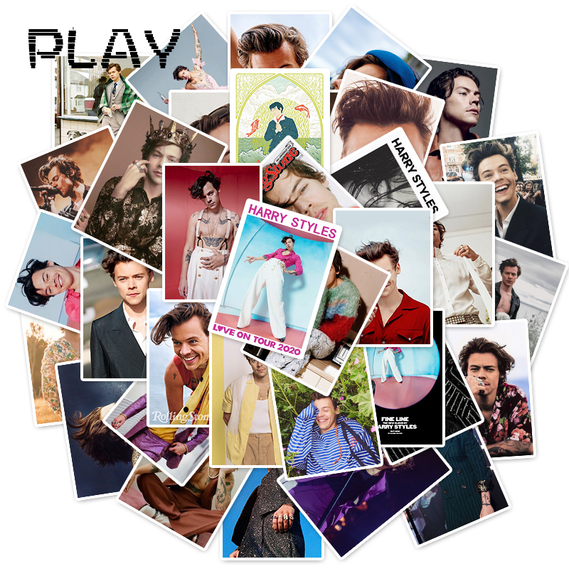 50pcs British Singer Harry Style Portrait Posters Stickers For Laptop Phone Pad Bicycle Fridge Decal Fans Gift Toy Stickers