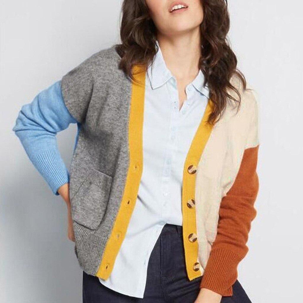 pull femme nouveaute 2020 sweater women Long Sleeve Color Block Pockets V Ncek Button Sweater  jersey mujer truien dames