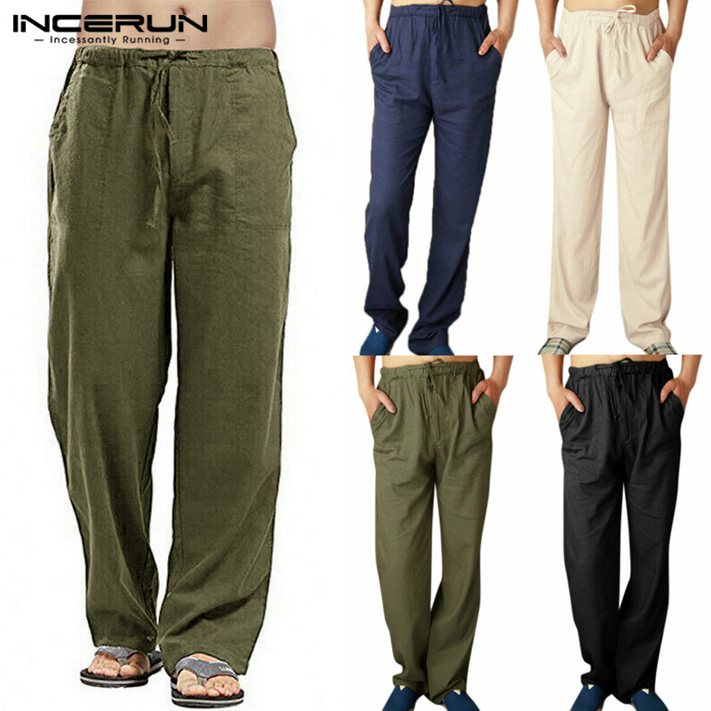 INCERUN Men Pants Solid Elastic Waist Joggers 2020 Loose Retro Streetwear Casual Straight Trousers Men Cotton Linen Sweatpants
