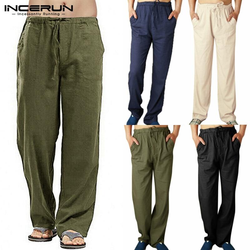 INCERUN Men Pants Solid Elastic Waist Joggers 2020 Loose Retro Streetwear Casual Straight Trousers Men Cotton Linen Sweatpants