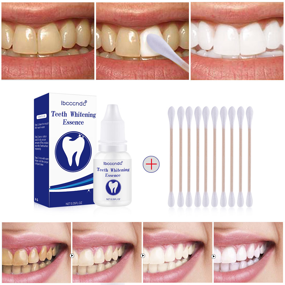 10ml Teeth Whitening Essence Liquid Oral Hygiene Cleaning Serum Removes With 1 Pack Cotton Swab Oral Care Dental Whitening Tools