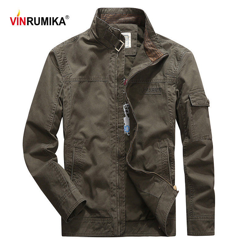 VINRUMIKA 2020 Europe Men's Autumn Military Casual Brand 100% Cotton Army Green Jackets Man Spring Khaki Jacket Black Blue Coat