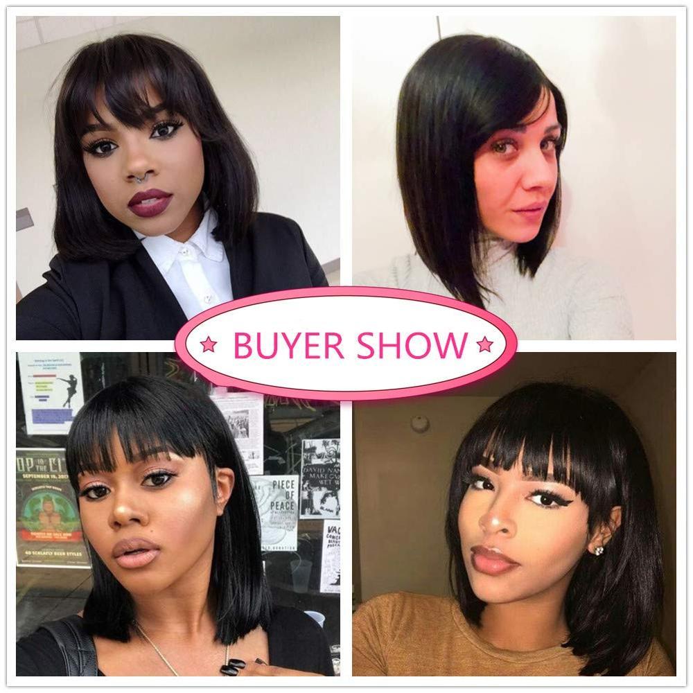 FAVE Short Bob Wigs Brazilian Human Hair Wigs 150% Density Short Cut Straight Wig With Bangs Bob Shoulder Wig For Black Women