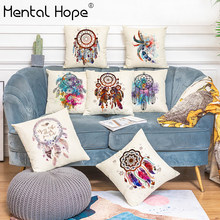 Dreamcatcher Printed Decorative Cushion Cover Linen Cotton Feather Pattern Throw Pillow Cover Home Decor Square Pillowcase swans heart pattern decorative linen pillowcase