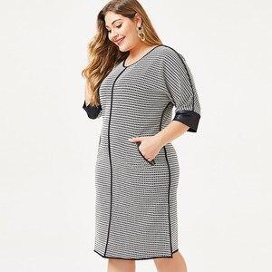 Image 4 - 2020 herbst frauen Plus Größe kleid Houndstooth mode Damen femal elegante kleider frau party nacht 4XL 5XL 6XL