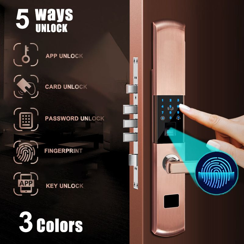 Security Electronic Digital Smart Door Fingerprint Lock APP+Touch Password+Key+Card+Fingerprint 5 Way Door Lock Electronic Hotel