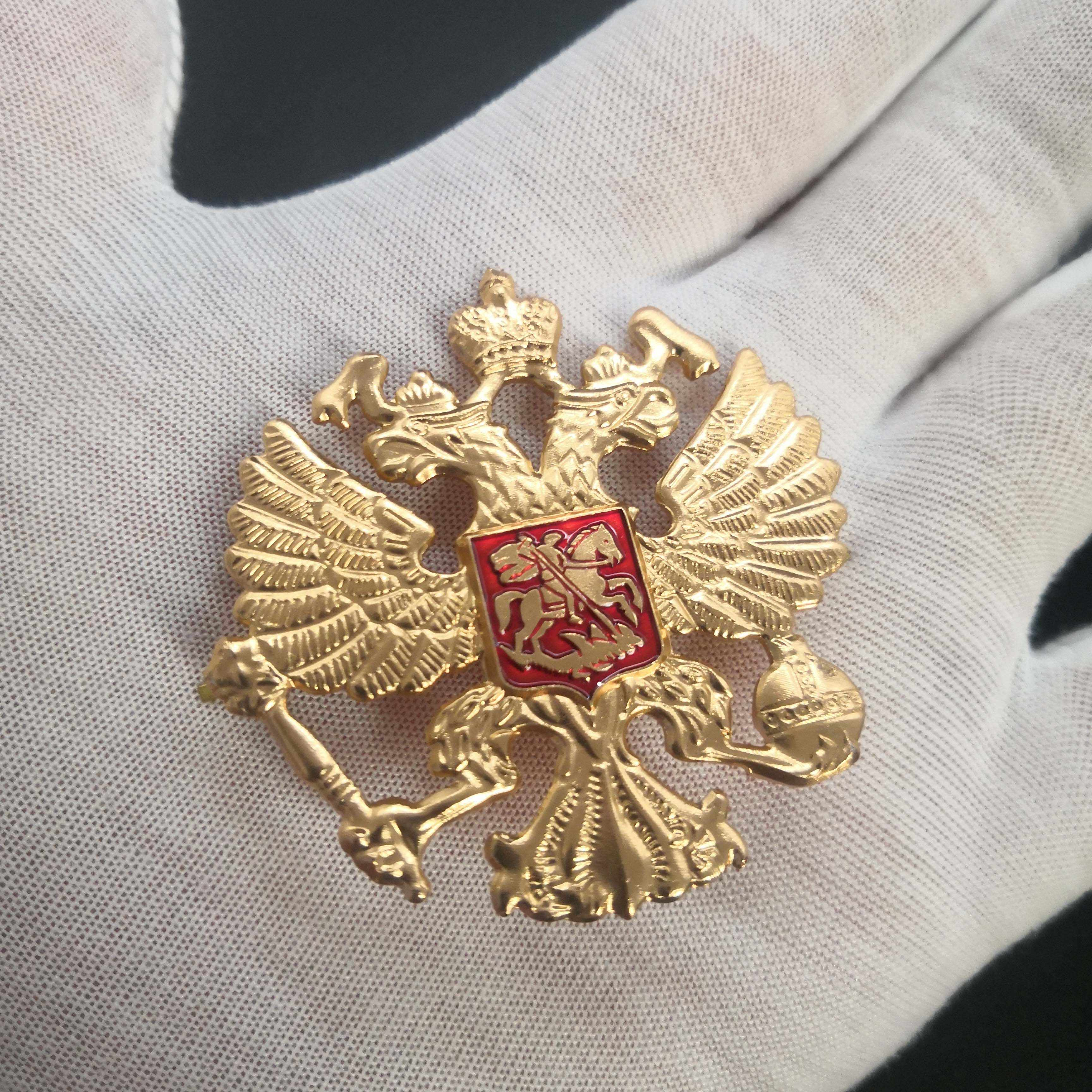 Pro Kitty Medali Rusia Double-Headed Eagle Medali Lambang Nasional Cockatiel Topi Pin Lencana