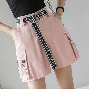 Женские шорты в Корейском стиле, повседневные свободные шорты с высокой талией и карманами в стиле Харадзюку, с буквенным поясом, лето 2020
