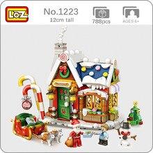 LOZ 1223 архитектура Счастливого Рождества дом Санта-Клаус Снеговик дерево Олень 3D Мини блоки кирпичи игрушки для детей без коробки