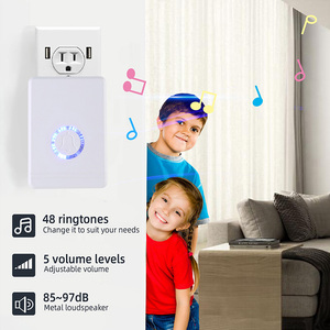 Image 5 - Lange Afstand Draadloze Deurbel Eu/Us Plug Luidspreker Home Entry Alarm Waterdicht Deurbel Nachtlampje 48 Ringtone