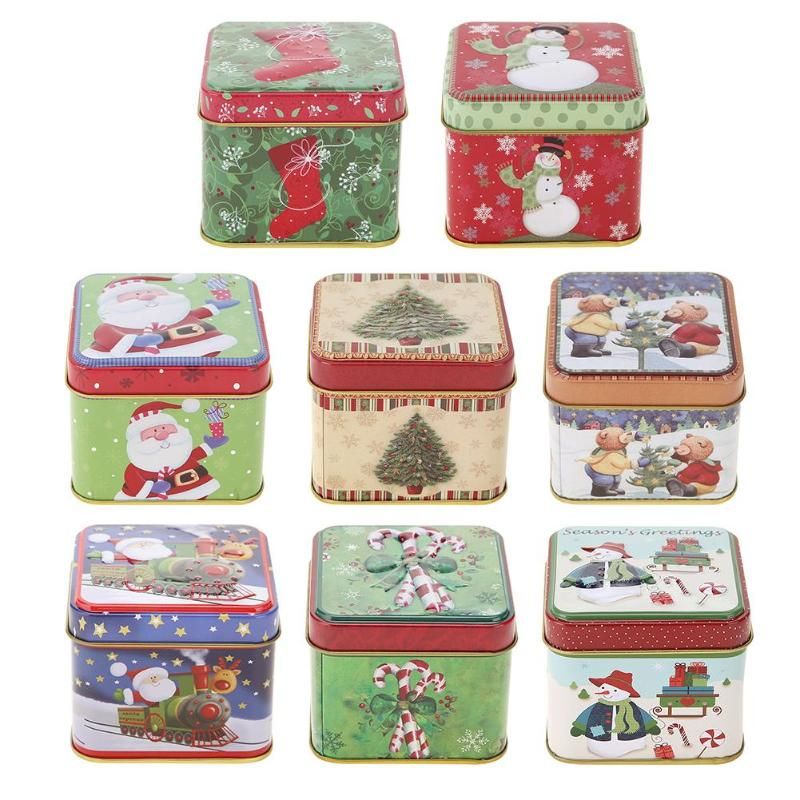 Cute <font><b>Christmas</b></font> Mini Gift Package Tin Box Candy Baking Cookies Biscuit Case image
