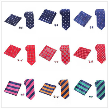 Mens Neck tie and Handkerchief Cufflinks Set Jacquard Striped Dot Floral Ties Pocket Square For Man Wedding party Bridegroom