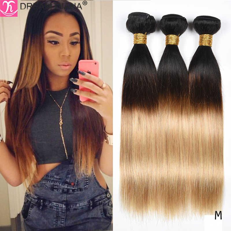 DreamDiana Zwei Tonte Haar Bundles Ombre Gerade Haar 1B 27 30 99J Farbige Remy Menschenhaar Ombre Brasilianische Haarwebart bundles M