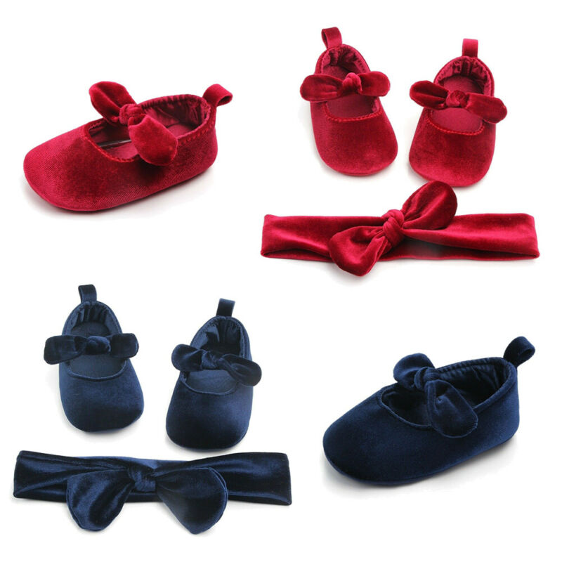 Lovely Newborn Baby Girl Gold Velvet Toddler First Walkers Kid Shoes+Hairband Bowknot Soft Sole Shoes Toddler Prewalker 0-18M
