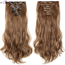 SNOILITE 17″ Women Long Curly Synthetic 18 Clip in Hair Extension clip extension hair Real Natural Hair Hairpieces for women