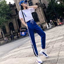 New style Printed t-shirt + Hip hop pants two-piece suit Fashion casual sports Hop womens Set