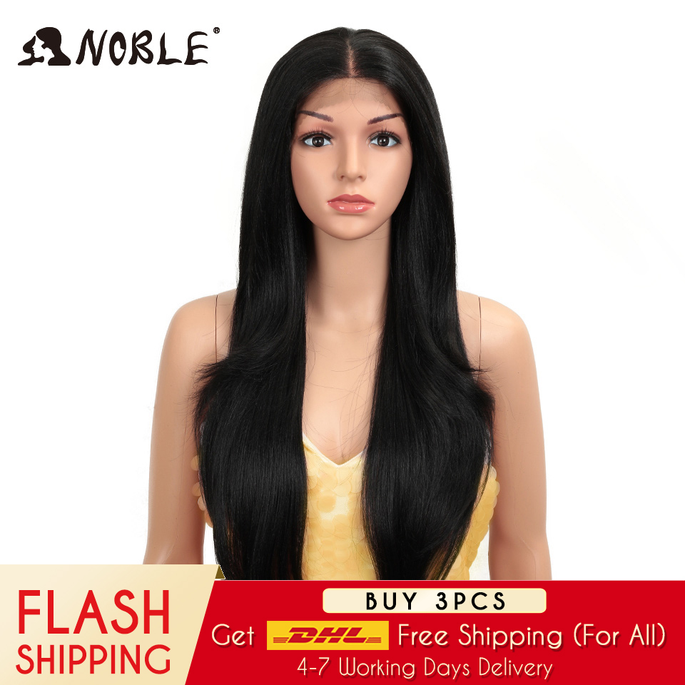 Noble Synthetic Lace Front Wig Long Straight Hair 28 Inch Natural Wig Ombre Blonde Wig Heat Resistant Fiber Wigs For Black Women
