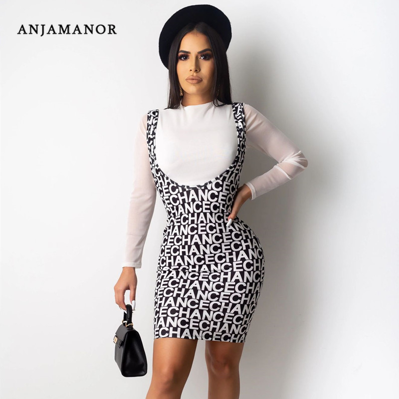 ANJAMANOR Fashion Print Long Sleeve Two Piece Skirt Set Women Autumn Winter Clothes 2020 Sexy 2 Piece Club Outfits D91-AE39