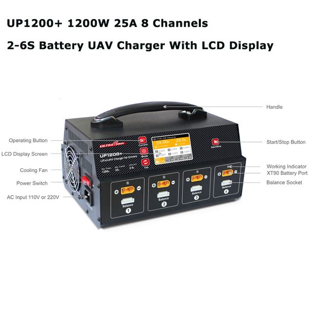 Ultra Power UP1200+ 25A UAV/Agricultural Drone Fast Balance Charger With Display Screen For 8 Channel 2 6S LiPo LiHV Battery