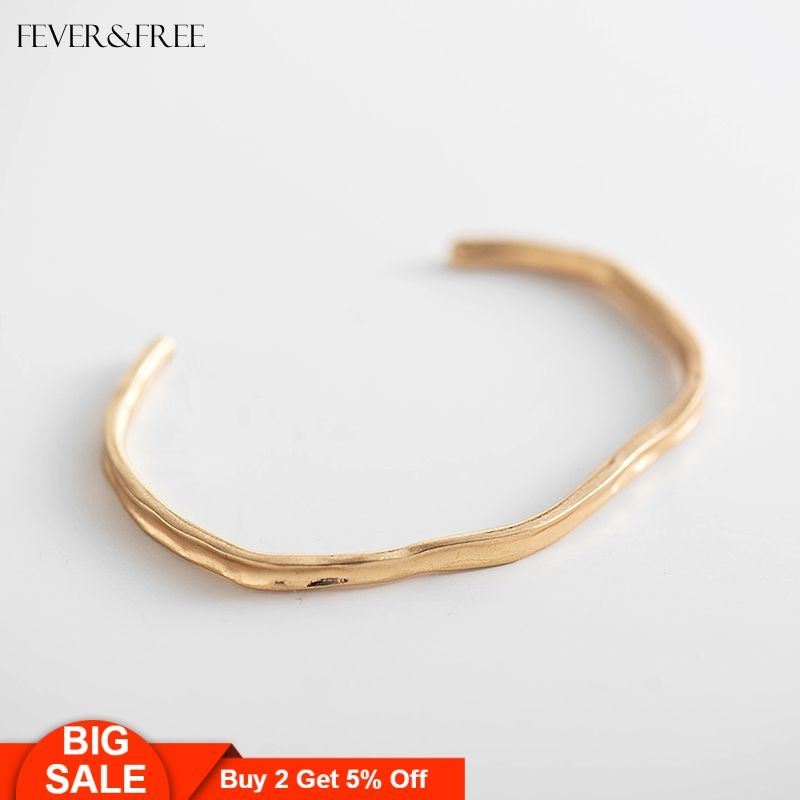 Fever&Free Best Selling Brazalete Accessories Open Cuff Gold Bangle For Women Men Love Couple Korean Bangle Bracelets Party Gift