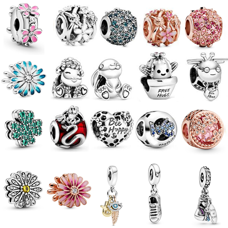 2020 Spring Daisy Flower Charms Fit Original Pandora Bracelet 925 Silver Pendant Charm Dangle Necklace Authentic Beads Jewelry