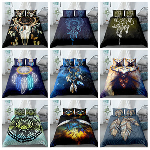 Bohemian Dream-catcher Bedding Set Colorful Feather Duvet Cover Pillowcase 3D King Queen Single Size Bed Sets