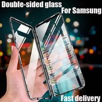 Magnetische Dubbelzijdig Glas Case Voor Samsung S21 S20 Ultra S20 S21 S10 S9 S8 Plus Note 20 Ultra Note 8 9 10 Pro Volledige Bescherming