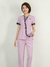 Spring-summer cosmetologist overalls female Korean version waist tight thin sleeve set hotel health club technician service