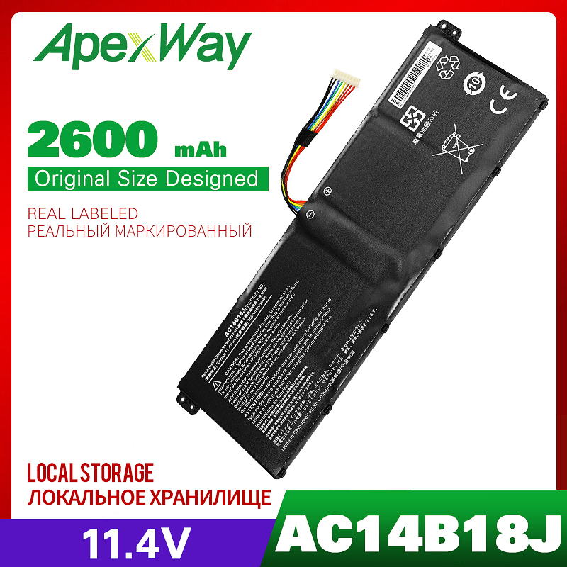 ApexWay 11.4v Laptop Battery For Acer Aspire  AC14B18J AC14B13j E3-111 E3-112 E3-112M ES1-511 TravelMate B116 B115-M B115-MP