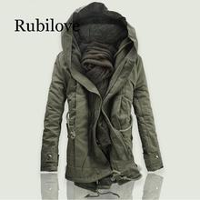 Rubilove 2019 New Men Padded Parka Cotton Coat Winter Hooded Jacket Mens Fashion large size Thick Warm Parkas Black army gr
