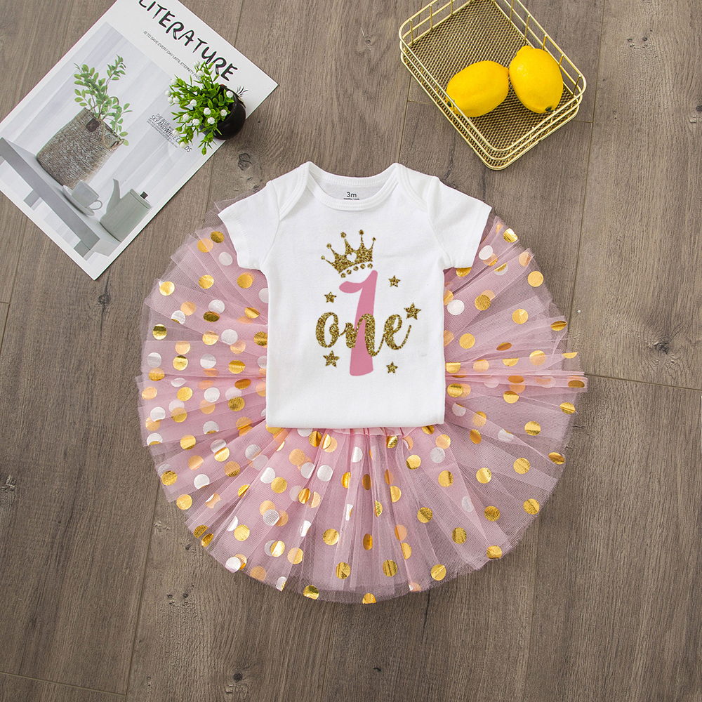 ONEderful Birthday Pink Gold Outfit 1st Birthday Party Girls Outfits Cake Smash Tutu+baby Bodysuits Summer Set Fashion Wear 25