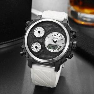 Модные кварцевые цифровые мужские часы 3 раза, белые уличные спортивные водонепроницаемые наручные часы, мужские силиконовые часы с секунд...