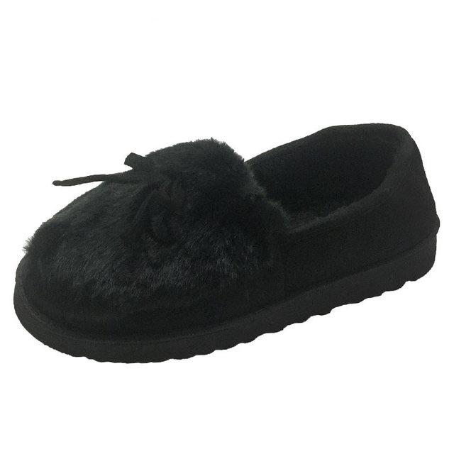 2020 נשים חורף נעלי Bowtie בפלאש בתוך Loaferes גבירותיי מקורה בית כפכפים Pantuflas גבירותיי להחליק על נעליים
