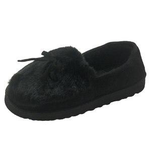 Image 1 - 2020 warme Hausschuhe Frauen Winter Schuhe Bowtie Plüsch Innen Loaferes Damen Indoor Hause Hausschuhe Pantuflas Damen Slip Auf Schuhe