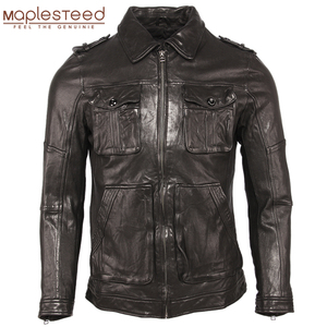 Image 1 - 100% עור כבש שזוף עור מעיל רך Slim סגנון גברים אמיתי עור מעילי גברים של עור מעיל בגדי אביב סתיו M459