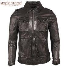 Мужская кожаная куртка из 100% дубленой кожи, мягкая приталенная куртка из натуральной кожи, одежда для весны и осени, M459