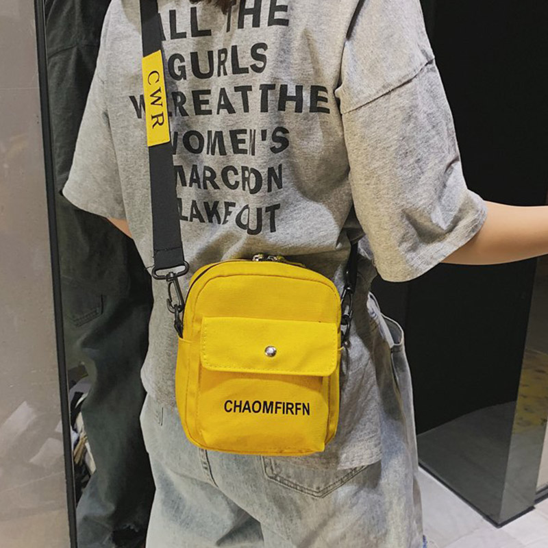 New Arrive  Women Bag Personalized Cool Letter Printed Shoulder Bag Simple Concise Canvas Crossbody Bag