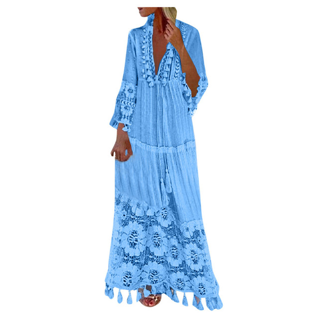 2021 Fashion dresses Casual outfits Bohemian Large Size V-Neck robe clothes Solid Color Lace Tassel Long dress New Design 1