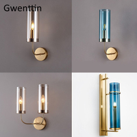 Modern Luxury Blue Glass Wall Lamps Led Gold Wall Sconce Mirror Light Fixtures for Bedroom Bathroom Lamp Home Decor Luminaire