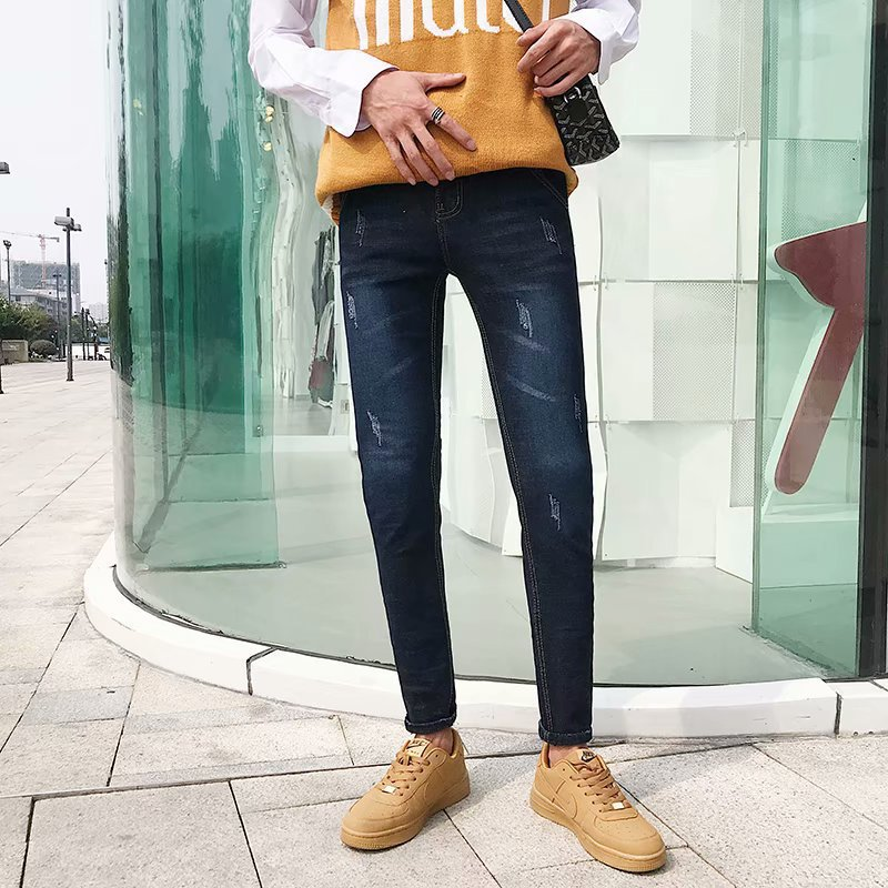 Autumn New Style Jeans Korean-style Slim Fit Jeans Teenager Skinny Pants Men's Casual Denim (Ankle-length Pants) Men's